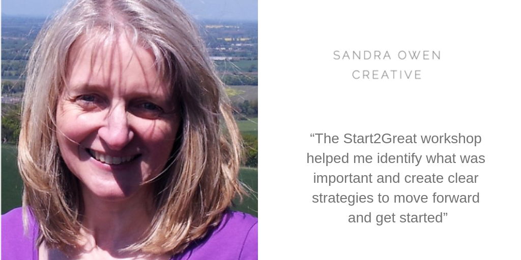 """The Start2Great workshop helped me identify what was important and create clear strategies to move forward and get started"""
