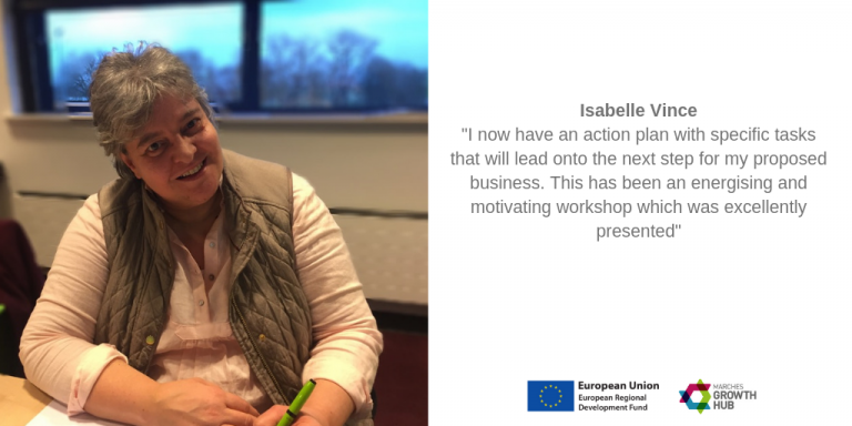 I now have an action plan with specific tasks that will lead onto the next step for my proposed business. This has been an energising and motivating workshop which was excellently presented