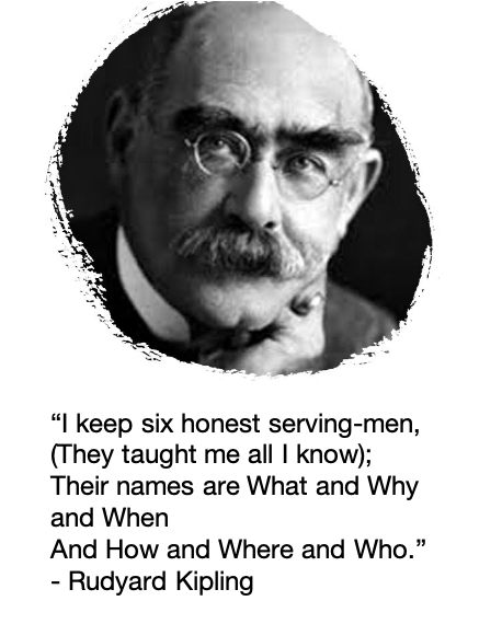 """I keep six honest serving-men (They taught me all I knew); Their names are What and Why and When And How and Where and Who."" [Rudyard Kipling]"